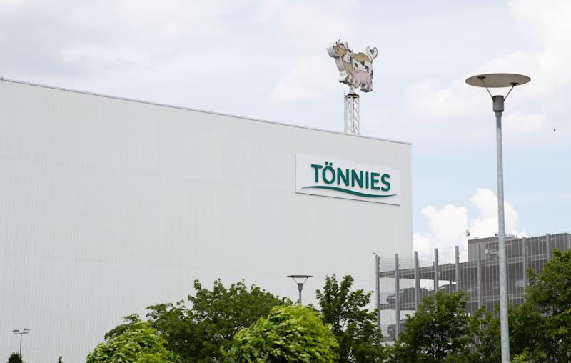 19 June 2020, North Rhine-Westphalia, Rheda-Wiedenbrück: The Tönnies logo can be seen on a production hall. At the Tönnies slaughterhouse in Rheda-Wiedenbrück, several hundred employees have tested positive for the corona virus since the beginning of the week. Photo: Friso Gentsch/dpa (Photo by Friso Gentsch/picture alliance via Getty Images)