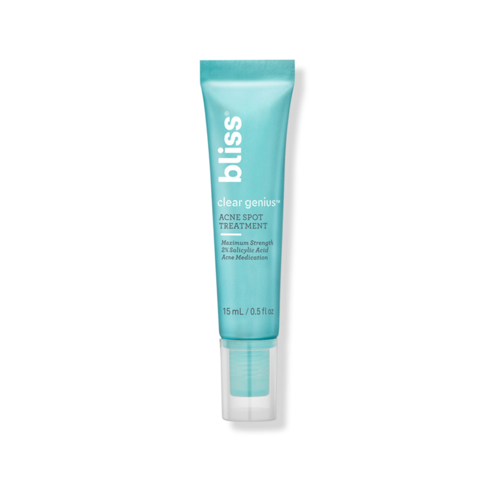 """I am acne prone—usually in the form of whiteheads and clogged bumps—around my mouth and chin, but most acne treatments dry out my skin. But thanks to cica, which calms and hydrated skin, as well as witch hazel, niacinamide, zinc, and salicylic acid, Bliss's new Clear Genius acne treatment line helps eliminate those stubborn whiteheads—and keep more breakouts at bay. —<em>J.R.</em> $15, Ulta. <a href=""""https://shop-links.co/1750573909529628219"""" rel=""""nofollow noopener"""" target=""""_blank"""" data-ylk=""""slk:Get it now!"""" class=""""link rapid-noclick-resp"""">Get it now!</a>"""