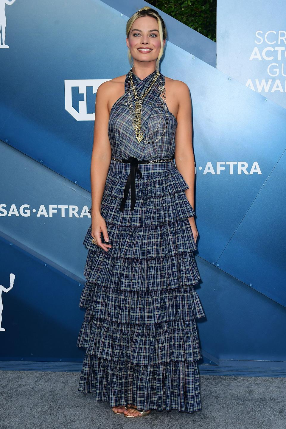 <h2>Margot Robbie in Chanel</h2><br>Margot Robbie has brought her fair share of Chanel looks to the red carpet during this award season, but this checkered number just might be our favorite one to date.