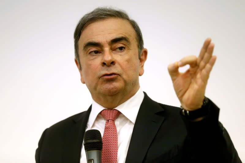 Former Nissan chairman Carlos Ghosn gestures during a news conference at the Lebanese Press Syndicate in Beirut