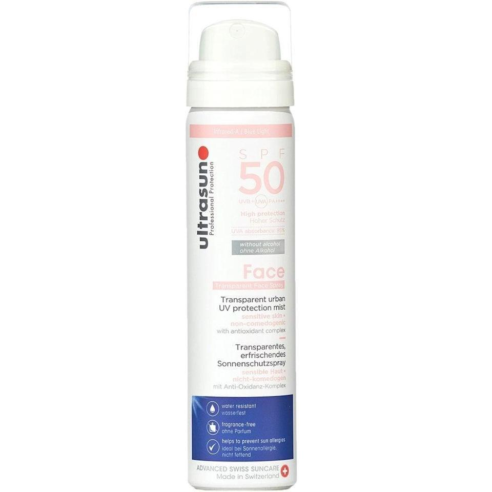 """This is quite similar to La Roche-Posay's offering, but is a little more moisturising, making it perfect for those with dry or combination skin. The mist itself disperses so evenly over the face and though it has a slight fragrance, it doesn't make eyes sting. It's my new favourite for sure.<br><br><strong>Ultrasun</strong> Face & Scalp UV Protection Mist SPF50, $, available at <a href=""""https://www.justmylook.com/ultrasun-face-scalp-uv-protection-mist-spf50-75ml-p21546"""" rel=""""nofollow noopener"""" target=""""_blank"""" data-ylk=""""slk:Just My Look"""" class=""""link rapid-noclick-resp"""">Just My Look</a>"""