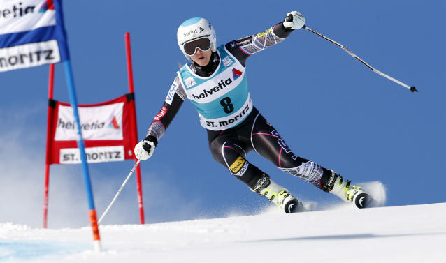 Julia Mancuso, of the United States, competes during the first run of an alpine ski, women's World Cup giant slalom in St. Moritz, Switzerland, Sunday, Dec. 15, 2013. (AP Photo/Marco Trovati)