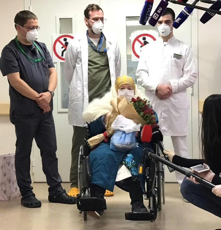 Pelageya Poyarkova, 100, leaves a Moscow hospital on May 13, 2020 after recovering from COVID-19