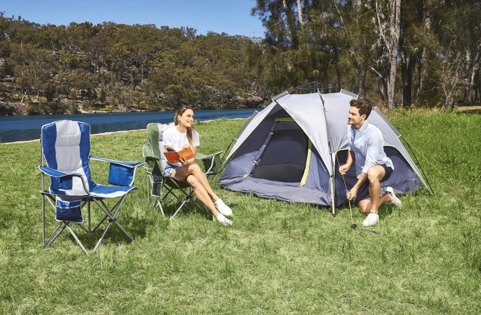 The four-person Pop-up Tent ($49.99) and Premium Camp Chair ($24.99). Photo: Aldi (supplied).