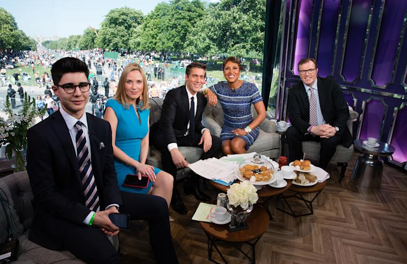 Walt Disney Television via Getty Images NEWS - Walt Disney Television via Getty Images News special coverage of the royal wedding of Prince Harry to Meghan Markle features an extended edition of Good Morning America hosted by David Muir and Robin Roberts on Saturday, May 19, 2018 (5:00 10:00 a.m., ET) on the Walt Disney Television via Getty Images Television Network. ((Hazel Thompson/Walt Disney Television via Getty Images)) OMID SCOBIE, IMOGEN LLOYD WEBBER, DAVID MUIR, ROBIN ROBERTS, ANDREW MORTON