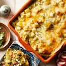 <p>Frozen potatoes, often labeled diced hash brown potatoes, make these healthy enchiladas come together quickly. Feel free to sub in sweet potatoes for an added boost of vitamin A, if desired.</p>