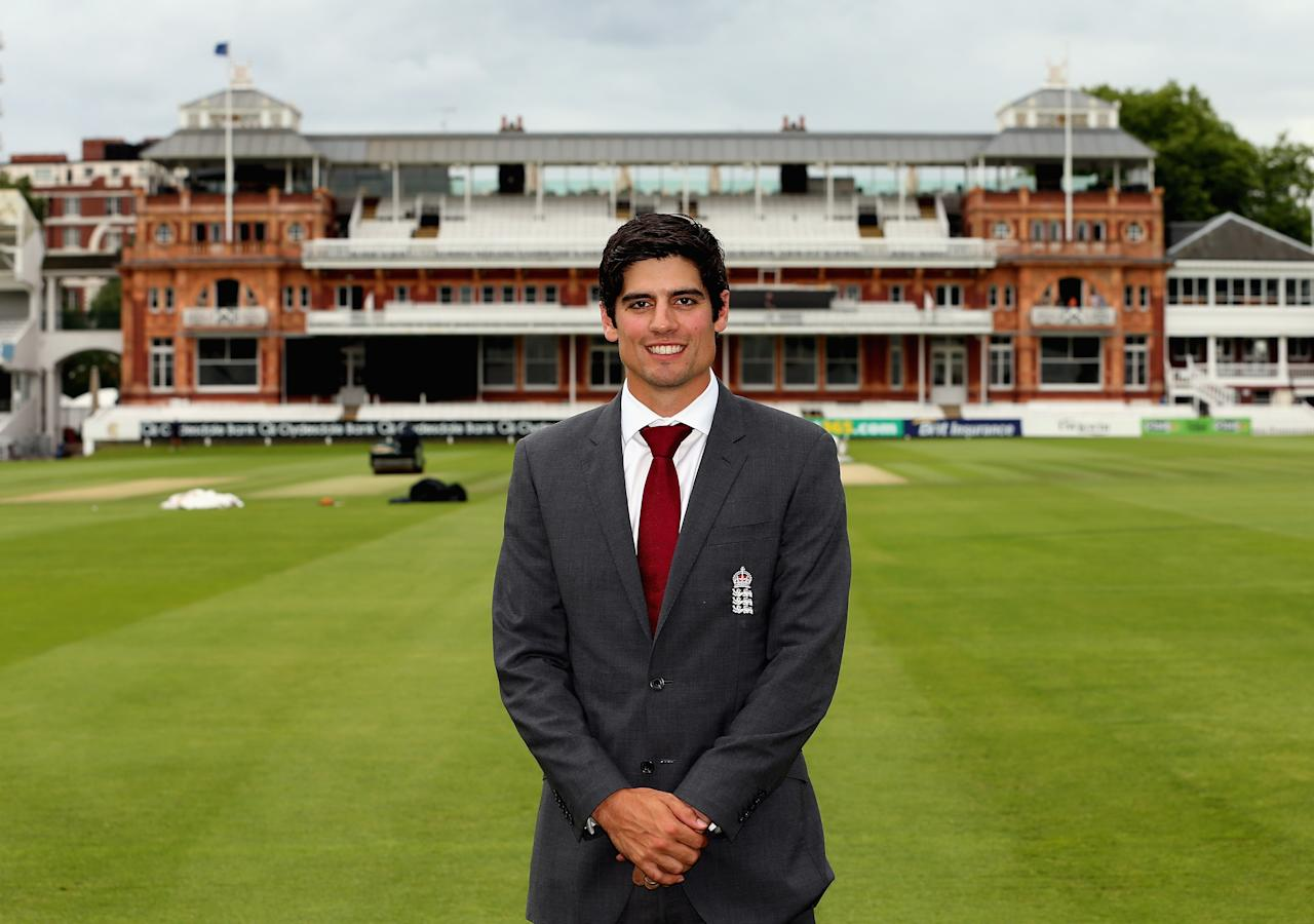LONDON, ENGLAND - AUGUST 29:  Alastair Cook is photographed in front of the Lord's pavillion as he was announced as the new England test cricket captain following Andrew Strauss's retirement during an England Cricket Media Press Conference at Lord's Cricket Ground on August 29, 2012 in London, England.  (Photo by Andrew Redington/Getty Images)