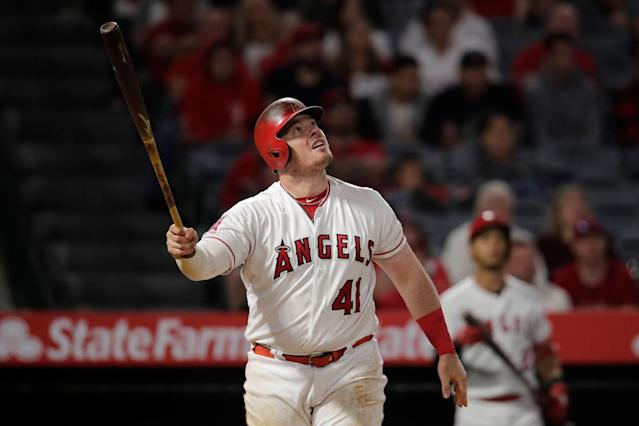 A rough week for Angels first baseman Justin Bour got even worse thanks to another major baserunning mistake. (AP Photo/Jae C. Hong)