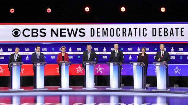 PHOTO: Democratic presidential candidates participate in a Democratic presidential primary debate, Feb. 25, 2020, in Charleston, S.C. (Win Mcnamee/Getty Images)