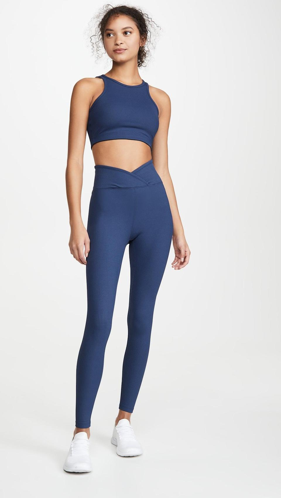 <p>This <span>Year of Ours Ribbed Claudia Bra Top</span> ($72) and <span>Veronica Ribbed Leggings</span> ($104) are super flattering.</p>