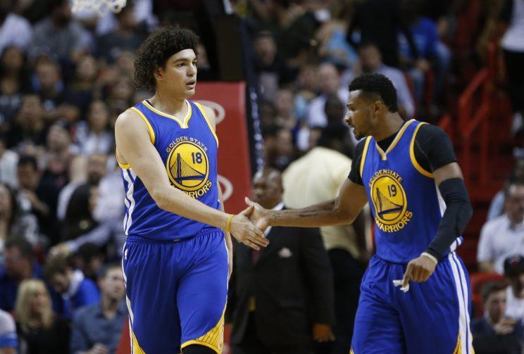 Anderson Varejao shakes hands with his good friend. (AP)