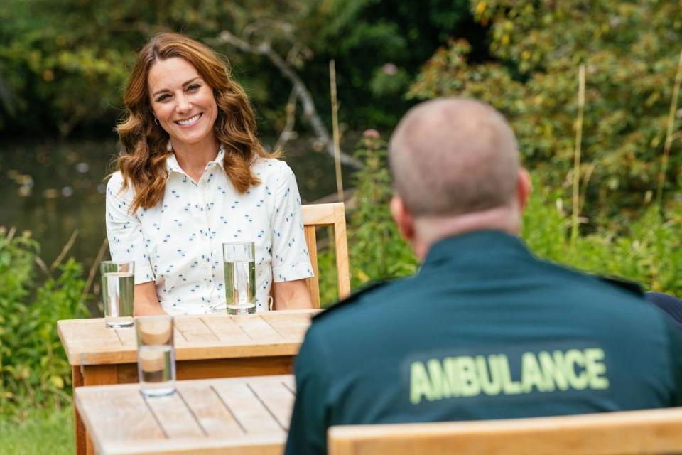 "<p>By summer, Middleton was back to attending engagements in person. In July, she had a social distanced meeting with frontline workers on the Sandringham Estate. At this time, the Royal Foundation <a href=""https://royalfoundation.com/programme/covid-19-response-fund/"" rel=""nofollow noopener"" target=""_blank"" data-ylk=""slk:announced the COVID-19 Response Fund"" class=""link rapid-noclick-resp"">announced the COVID-19 Response Fund</a> would grant £1.8 million to help frontline workers and mental health services in the United Kingdom. </p>"