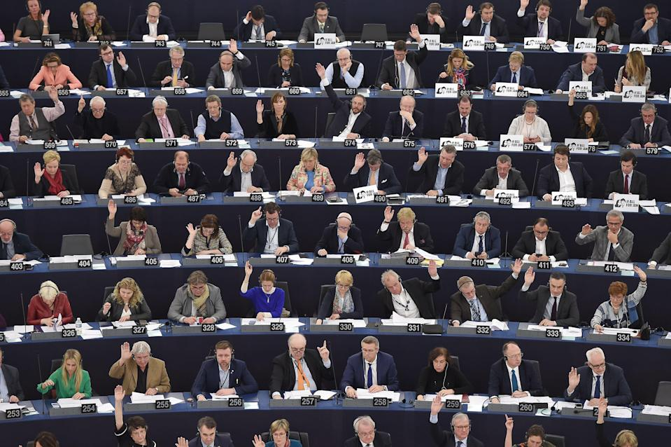 MEPs voting at the European Parliament in Strasbourg (Getty)