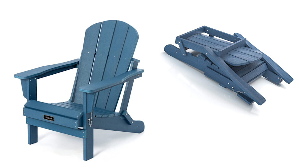 This Adirondack chair is made from weather-resistant material that is splinter- and chip-proof.