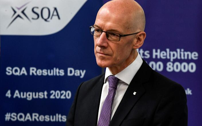 John Swinney, the education secretary, on an exams results day which could yet cost him his job - Pool/Reuters
