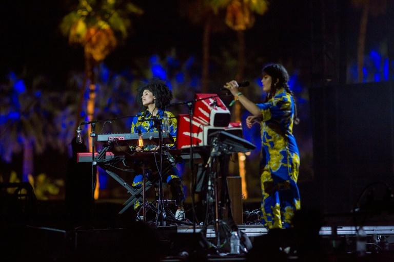 French duo Ibeyi performing Sunday with Kali Uchis at the Coachella music festival in Indio, California