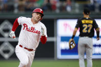 Philadelphia Phillies' Rhys Hoskins runs to third base after hitting a triple off Pittsburgh Pirates starting pitcher Mitch Keller during the second inning of a baseball game, Wednesday, Aug. 28, 2019, in Philadelphia. (AP Photo/Matt Slocum)