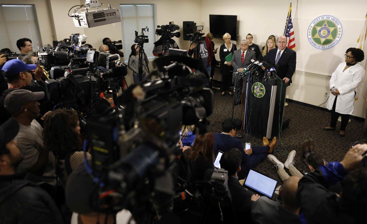 Riverside County Sheriff's Department Captain Greg Fellows speaks during a news conference about the arrests of the parents of 13 siblings, who police say were found shackled to their beds with chains and padllocks in Perris, California, U.S., January 16, 2018. REUTERS/Mike Blake