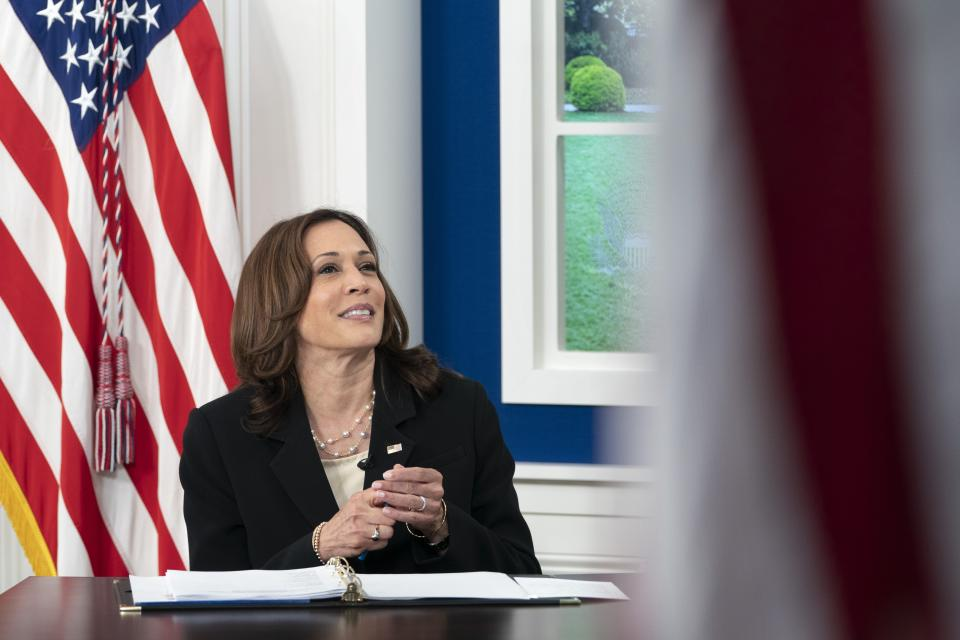 Vice President Kamala Harris looks up during a United Nations General Assembly virtual COVID-19 Summit, Wednesday, Sept. 22, 2021, from the South Court Auditorium on the White House complex in Washington. (AP Photo/Jacquelyn Martin)