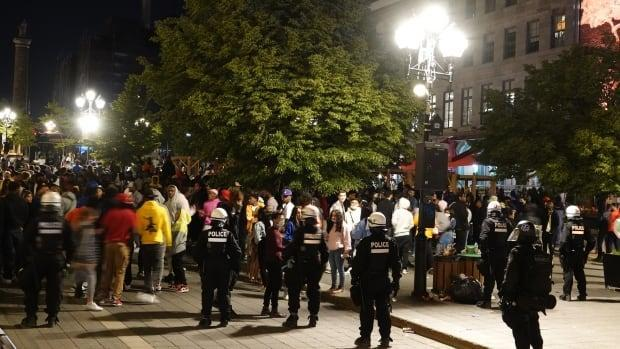 It was the second night in a row that revellers gathered in Old Montreal since restaurant terrasses were reopened and the curfew lifted.