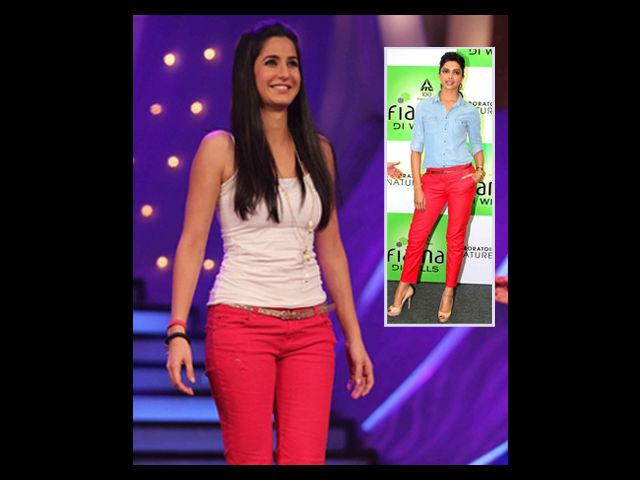 """<div class=""""heading03"""">Red Jeans</div> <p><span style=""""text-decoration: underline;""""><strong>Celeb Example: Katrina Kaif</strong></span></p> <p>Red is a tricky colour to wear, especially when it comes to jeans. But, Katrina pulls it off effortlessly. You can team up your red jeans, like Katrina does here, by wearing a white ganji, thin belt, and black boots. Be a tad bit careful if you want to wear heels with them, because not many can carry it off with jeans and are often seen limping than walking straight.</p>"""