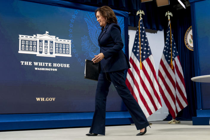 Vice President Kamala Harris departs following a virtual meeting with community leaders to discuss COVID-19 public education efforts in the South Court Auditorium in the Eisenhower Executive Office Building on the White House Campus, Thursday, April 1, 2021, in Washington. (AP Photo/Andrew Harnik)