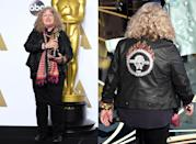 """Winning the costume design award for <em>Mad Max: Fury Road</em>, Jenny Beaven brought biker-chic attire to the Oscars in 2016. Beaven <a href=""""https://www.theguardian.com/lifeandstyle/2016/mar/20/interview-jenny-beavan-costume-designer-oscars"""" rel=""""nofollow noopener"""" target=""""_blank"""" data-ylk=""""slk:dressed"""" class=""""link rapid-noclick-resp"""">dressed</a> herself in a jacket """"like the <em>Mad Max</em> motorbike cop,"""" as well as a scarf reminiscent of """"an oily rag"""", biker boots and jeans. She even painted one of her nails a shiny chrome, """"in honor of the metal of the film."""" The moment went viral, especially when she was photographed next to Cate Blanchett in a more traditional gown. """"I was wearing a costume. A homage to <em>Mad Max</em>,"""" Beaven <a href=""""https://www.theguardian.com/lifeandstyle/2016/mar/20/interview-jenny-beavan-costume-designer-oscars"""" rel=""""nofollow noopener"""" target=""""_blank"""" data-ylk=""""slk:later said"""" class=""""link rapid-noclick-resp"""">later said</a>. """"I look ridiculous in frocks. I can't wear heels—my back goes out and my feet get terribly sore. I am a storyteller—I'm not interested in fashion."""""""