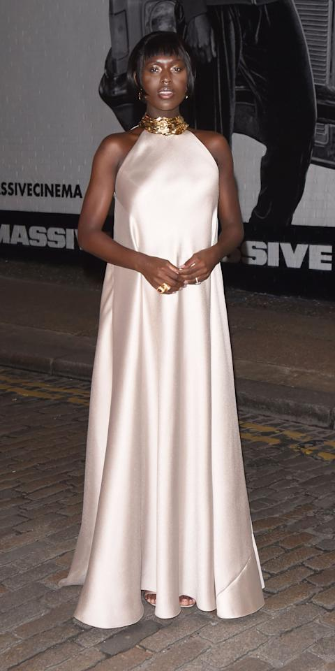 "<p>During the <em>Queen and Slim</em> premiere in London, Jodie Turner-Smith looked like a goddess in a satin <a href=""https://click.linksynergy.com/deeplink?id=93xLBvPhAeE&mid=24449&murl=https%3A%2F%2Fwww.net-a-porter.com%2Fus%2Fen%2FShop%2FDesigners%2FReem_Acra&u1=IS%2CJodieTurner-Smith%2Canesta%2C%2CIMA%2C3517985%2C202001%2CI"" target=""_blank"">Reem Acra</a> gown.</p>"