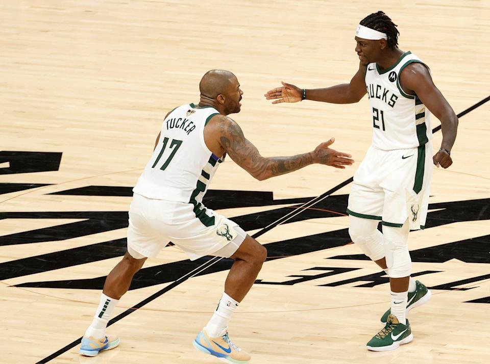 The trades for Jrue Holiday (21) in the offseason and P.J. Tucker at the trade deadline were instrumental in the Bucks winning a title.