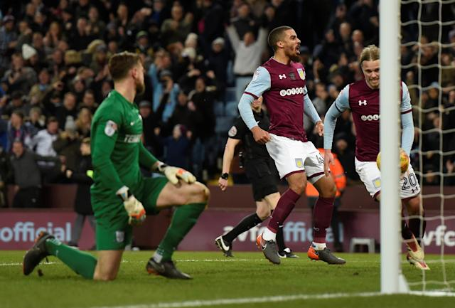 "Soccer Football - Championship - Aston Villa vs Preston North End - Villa Park, Birmingham, Britain - February 20, 2018 Aston Villa's Lewis Grabban celebrates scoring their first goal Action Images/Adam Holt EDITORIAL USE ONLY. No use with unauthorized audio, video, data, fixture lists, club/league logos or ""live"" services. Online in-match use limited to 75 images, no video emulation. No use in betting, games or single club/league/player publications. Please contact your account representative for further details."
