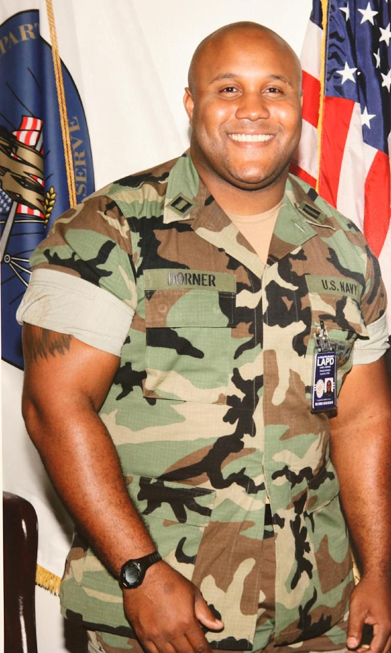 "This undated photo released by the Los Angeles Police Department shows suspect Christopher Dorner, a former Los Angeles officer.  Dorner, who was fired from the LAPD in 2008 for making false statements, is linked to a weekend killing in which one of the victims was the daughter of a former police captain who had represented him during the disciplinary hearing. Authorities believe Dorner opened fire early Thursday on police in cities east of Los Angeles, killing an officer and wounding another.  Police issued a statewide ""officer safety warning"" and police were sent to protect people named in the posting that was believed to be written by Dorner.  (AP Photo/Los Angeles Police Department)"