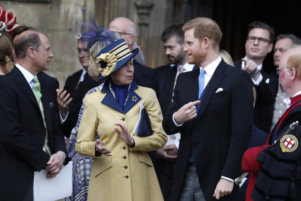 WINDSOR, ENGLAND - MAY 18: Prince Harry, Duke of Sussex and Princess Anne, Princess Royal, leave after the wedding of Lady Gabriella Windsor and Thomas Kingston at St George's Chapel on May 18, 2019 in Windsor, England. (Photo by Frank Augstein - WPA Pool/Getty Images)