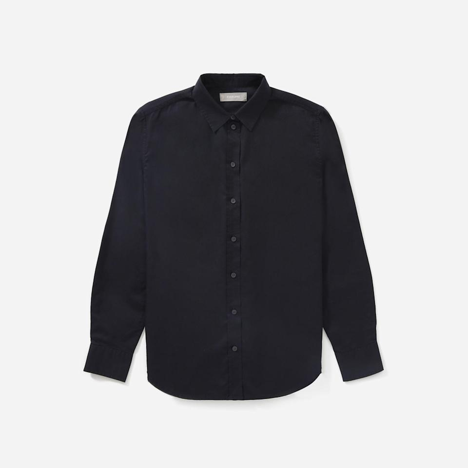 """<p><strong>Everlane</strong></p><p>everlane.com</p><p><strong>$60.00</strong></p><p><a href=""""https://go.redirectingat.com?id=74968X1596630&url=https%3A%2F%2Fwww.everlane.com%2Fproducts%2Fwomens-silky-cttn-relaxed-shirt-black&sref=https%3A%2F%2Fwww.harpersbazaar.com%2Ffashion%2Ftrends%2Fg37184495%2Foversize-button-down-shirts%2F"""" rel=""""nofollow noopener"""" target=""""_blank"""" data-ylk=""""slk:Shop Now"""" class=""""link rapid-noclick-resp"""">Shop Now</a></p><p>Everlane reviewers like this button-down's drapey fit, but they love the silk texture from its high-twist yarn.</p>"""