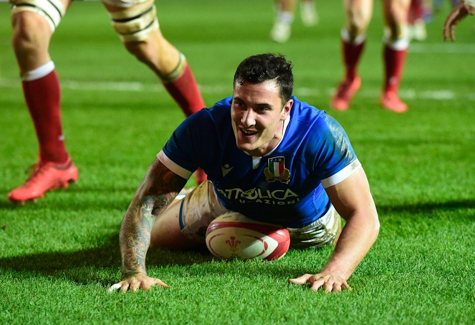 Marco Zanon scores Italys first try to respond to WalesReuters