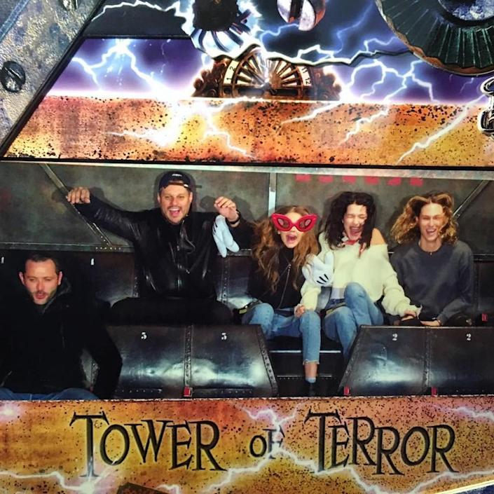 <p>The model looked appropriately terrified on the Tower of Terror. (Photo: Bella Hadid via Instagram) </p>