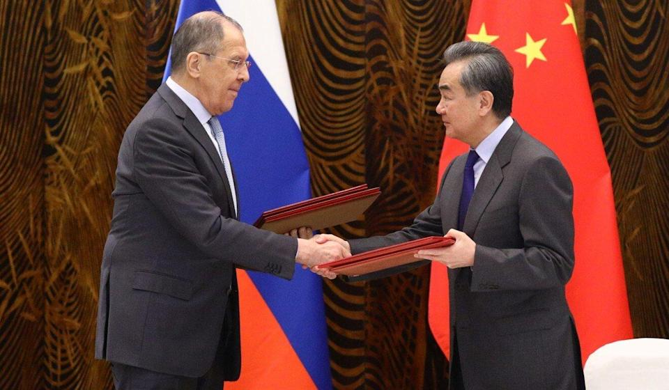 Russian Foreign Minister Sergey Lavrov meets his Chinese counterpart Wang Yi in Guilin on Tuesday. Photo: Handout via Reuters