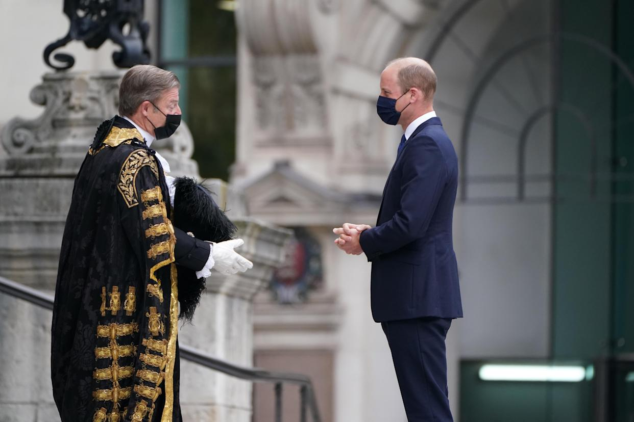 The Duke of Cambridge is greeted by William Russell, the Lord Mayor of London, as he arrives for the NHS service of commemoration and thanksgiving to mark the 73rd birthday of the NHS at St Paul's Cathedral, London. The Duchess of Cambridge was expected to attend but is having to self-isolate after coming into contact with someone who later tested positive for coronavirus, Picture date: Monday July 5, 2021.