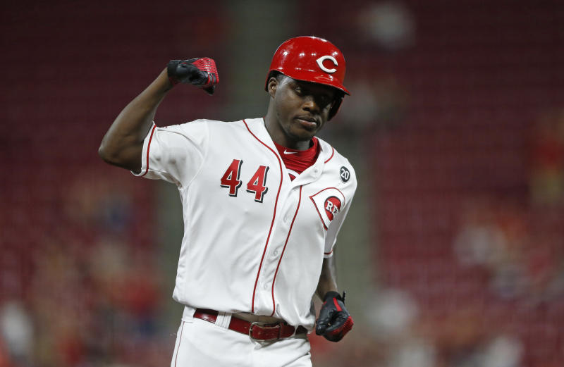 Reds rookie outfielder Aristides Aquino sets another home run record. (AP Photo/Gary Landers)
