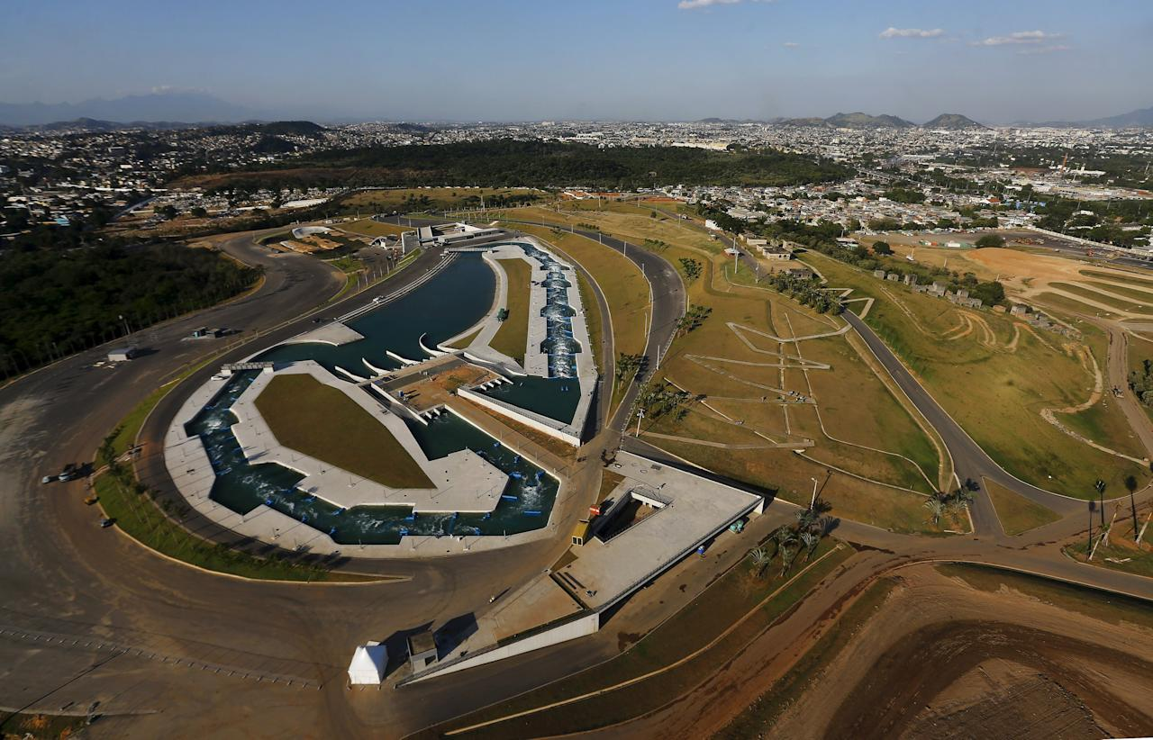 """An aerial view shows the X-Park at Deodoro Olympic Park ahead of the 2016 Rio Olympics in Rio de Janeiro, Brazil, April 25, 2016. With 100 days to go before the Olympic games begin in Rio de Janeiro, a host nation famous for doing things at the last minute faces a novel situation - the organisation is not an issue, political turmoil and apathy are. REUTERS/Ricardo Moraes SEARCH """"100 OLYMPICS"""" FOR THIS STORY. SEARCH """"THE WIDER IMAGE"""" FOR ALL STORIES TPX IMAGES OF THE DAY"""