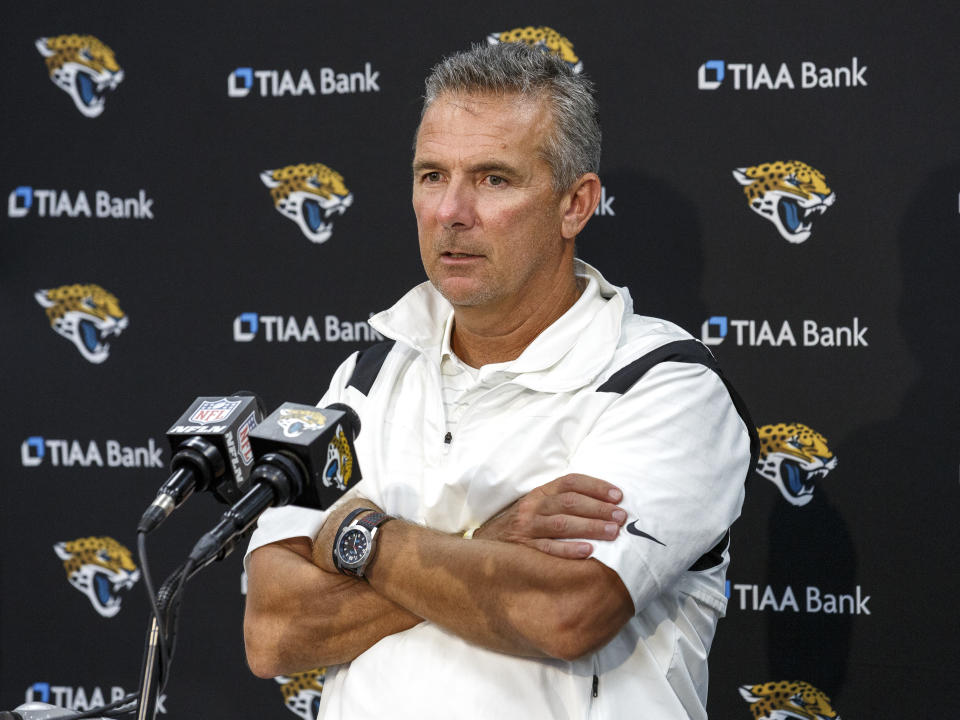 Jaguars coach Urban Meyer may be in trouble for stating the obvious: Vaccination status matters in making roster decisions. (Photo by Don Juan Moore/Getty Images)
