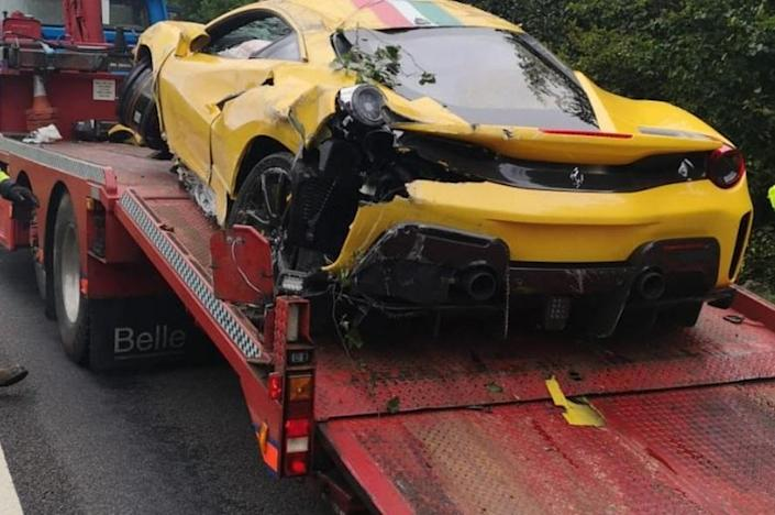 A rescue vehicle had to tow the luxury supercar away. (swns)