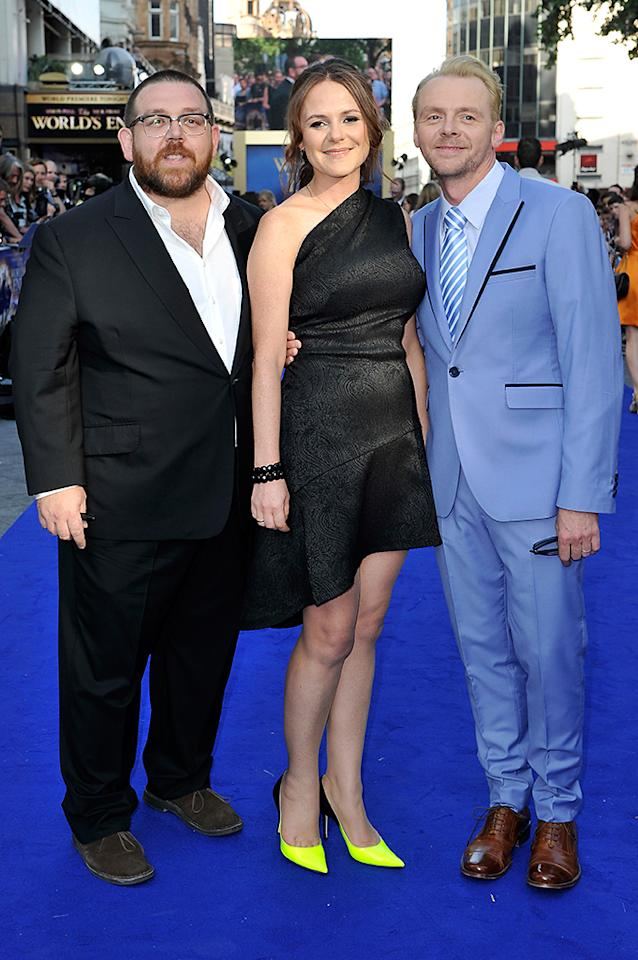 LONDON, ENGLAND - JULY 10:  Actor Nick Frost, Producer Nira Park and actor Simon Pegg attend the World Premiere of The World's End at Empire Leicester Square on July 10, 2013 in London, England.  (Photo by Gareth Cattermole/Getty Images for Universal Pictures)