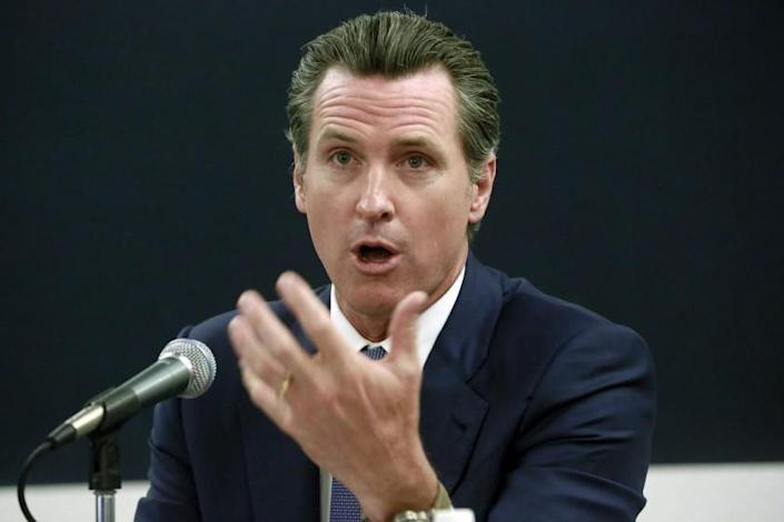 """Governor Gavin Newsom caught Hollywood by surprise with plans to restart filming in the state from Monday. <span class=""""copyright"""">(Nick Ut / Associated Press)</span>"""