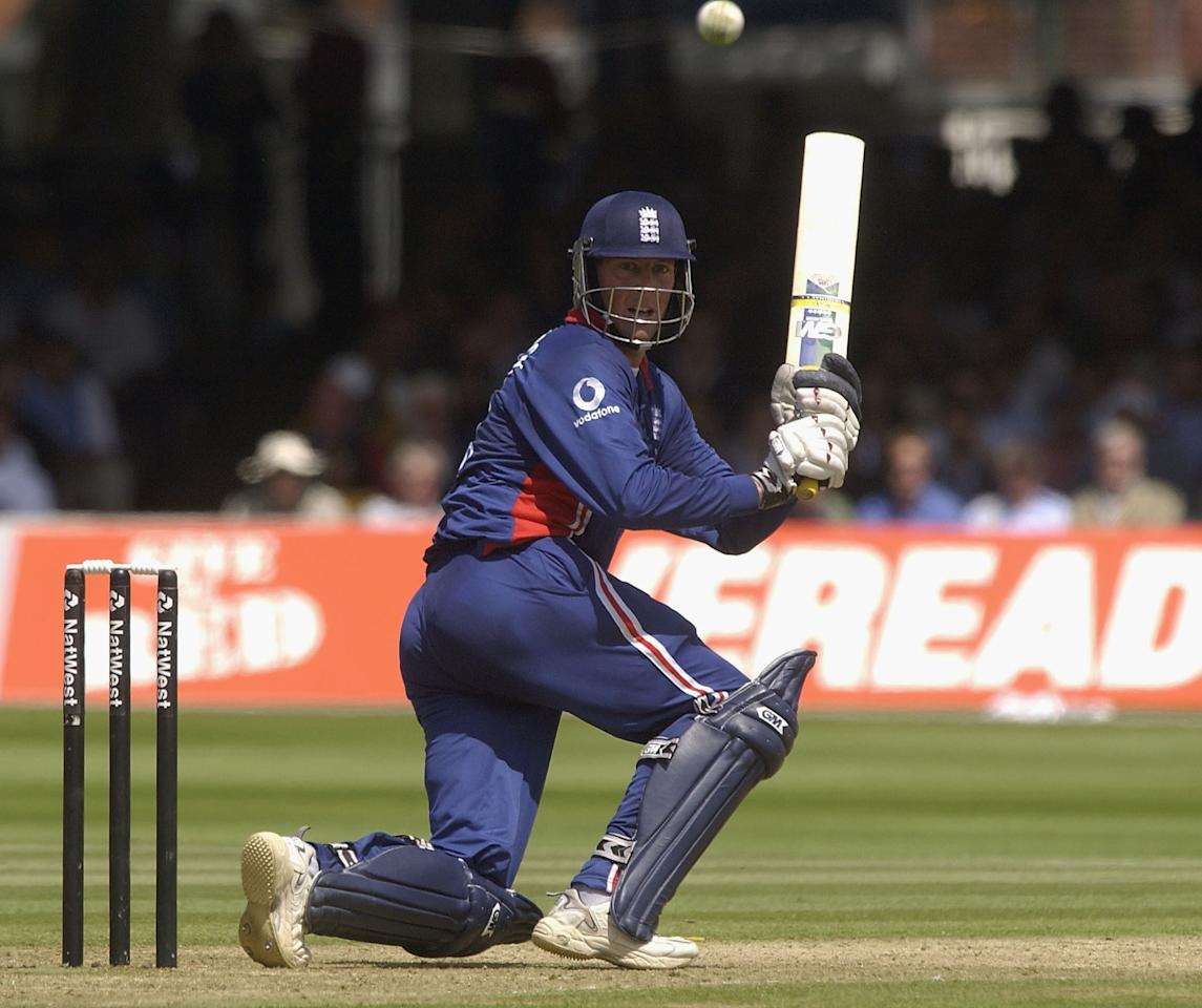 LONDON, ENGLAND - JULY 13:  Marcus Trescothick of England on his way to his century during the match between England and India in the NatWest One Day Series Final at Lord's in London, England on July 13, 2002. (Photo by Tom Shaw/Getty Images)
