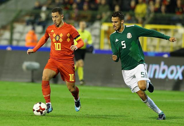 "<a class=""link rapid-noclick-resp"" href=""/soccer/players/eden-hazard/"" data-ylk=""slk:Eden Hazard"">Eden Hazard</a> and Belgium drew 3-3 with Mexico in a thrilling friendly. (Getty)"