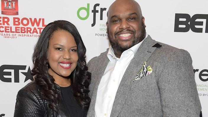 Aventer Gray (L) and pastor John Gray attend the BET Presents Super Bowl Gospel Celebration at Lakewood Church on February 3, 2017 in Houston, Texas. (Photo by Marcus Ingram/Getty Images for BET)