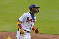 Atlanta Braves' Ronald Acuna Jr. rounds the bases after hitting a solo home run in the second inning of a baseball game against the Washington Nationals, Monday, May 31, 2021, in Atlanta. (AP Photo/John Bazemore)