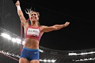 <p>USA's Valarie Allman reacts while competing in the women's discus throw final during the Tokyo 2020 Olympic Games at the Olympic Stadium in Tokyo on August 2, 2021. (Photo by Ben STANSALL / AFP) (Photo by BEN STANSALL/AFP via Getty Images)</p>