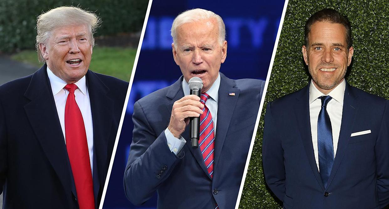 President Trump, former Vice President Joe Biden and Hunter Biden. (Photos: Chip Somodevilla/Getty Images, Scott Olson/Getty Images, Paul Morigi/Getty Images for World Food Program USA)