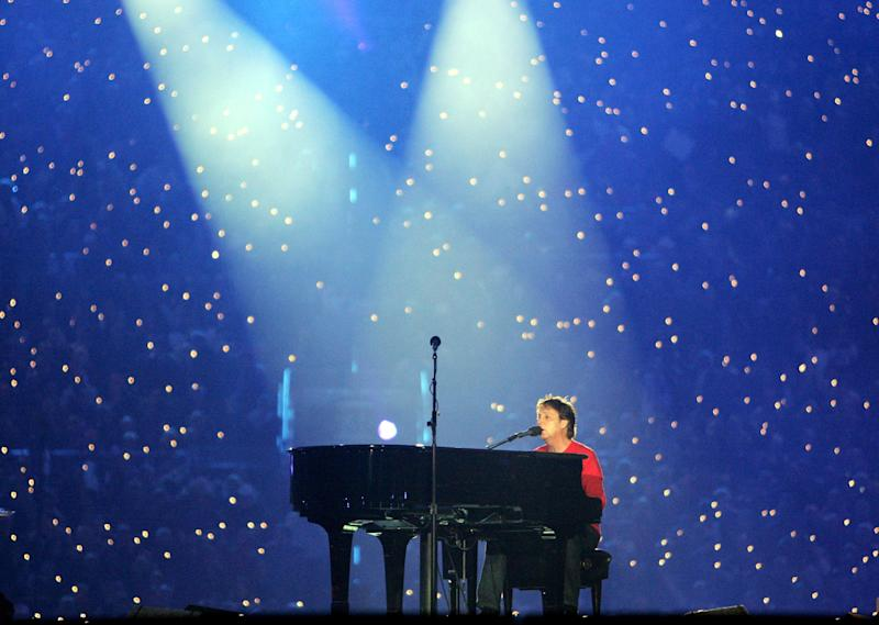 Singer Paul McCartney performs during the Super Bowl XXXIX halftime show at Alltel Stadium on February 6, 2005 in Jacksonville, Florida.